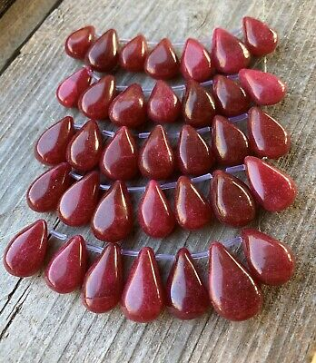 7PCS Genuine Natural Ruby Gemstone Teardrops Drilled 17x11-19x14mm