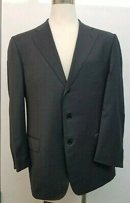 Ermenegildo Zegna Suit Jacket US 46R Gray 3 Button Mens EU 56R Neiman Marcus