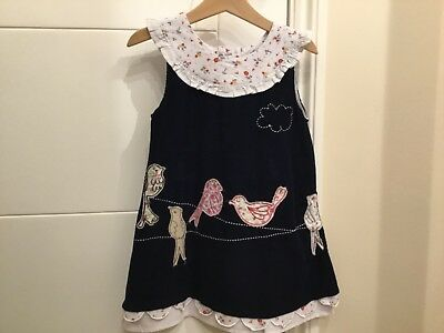 Powell Craft Handmade Red Cord Pinafore Dress Cotton Age 1-2 BNWT Spare Button
