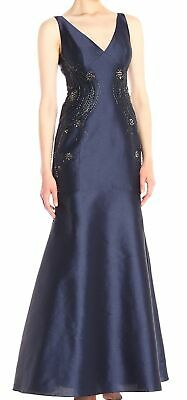 Adrianna Papell Women's Dress Blue Size 20W Plus Gown Bead Embellished