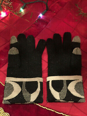 Coach Wool Knit Logo Tech Touch Gloves 85216 Black And White
