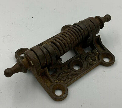Antique Victorian Eastlake Cast Iron Spring Loaded Screen Door Hinge Hardware