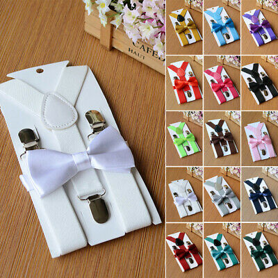 Adjustable Kids Cute Clip-on Elastic Braces Suspenders Bow Tie Matching Braces