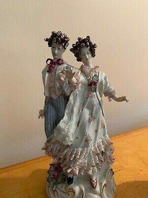 "Rare Vintage/Antique Corday French Porcelain Mantle Victorian Figurines 13"" DR"
