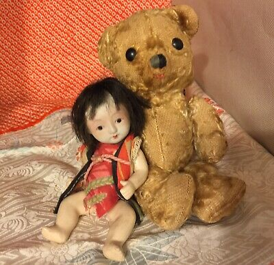 "EARLY1900s 7"" MOHAIR TEDDY BEAR w/ PRECIOUS 6""JAPANESE SIGNED NIPPON BISQUE BABY"