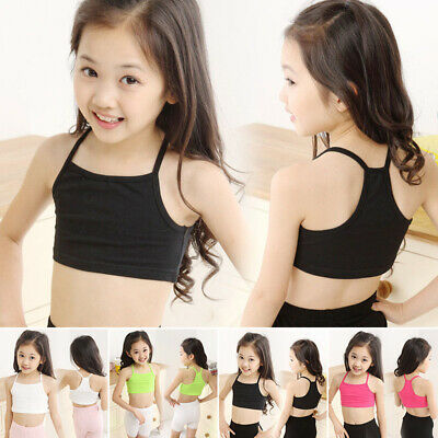 Kids Girls Spaghetti Strap Camisole Vest Crop Top Dance Sport Yoga Gym Dancewear