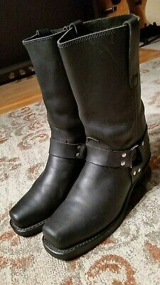 Roebucks Vintage Black Leather  Harness Motorcycle Boots #621255 Men's 10D Usa