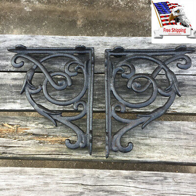 US 2PCS Antique Style Cast Iron Brackets Garden Shelf Hanging Hooks Black