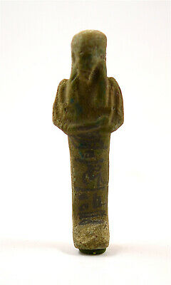 Egypt Late Period to Ptolemaic Period faience shabti of Pa-en-chered-en-Iset