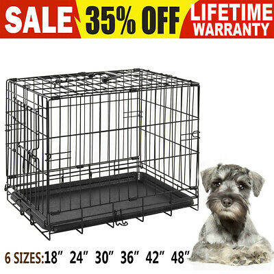 Dog Cage Puppy Pet Crate Small Medium Large XL XXL Folding Metal Secure Cages ①