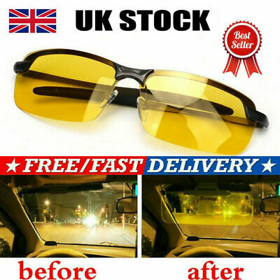 Anti Glare Night Driving Glasses HD Vision Polarized Tinted Unisex Yellow Lens