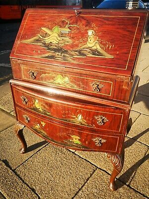 Chinoiserie decorated walnut bureau, Circa 1930s vintage Chinese antique