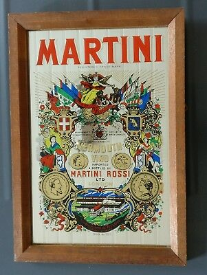 Cadre miroir ancien, Vintage : MARTINI ROSSI LONDON (Made in England)