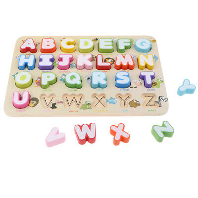 Wooden Letter Block Alphabet Board Kid Children Educational Baby Toy Gifts