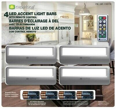 NEW 4 x Capstone LED Accent Light Bars Magnetic Mount Lighting & Remote Control!