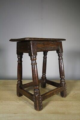 17th Century Antique Oak Joint Stool