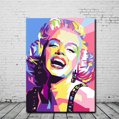 Classic Marilyn Monroe Canvas Painting Colorful Art Wall Modern Decor Frameless