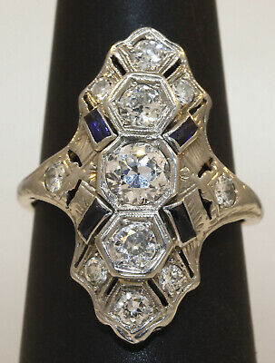 Lovely Antique Art Deco 18K White Gold Ring With Sapphires And Diamonds! #W34