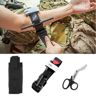 One Hand Tourniquet Combat Application Outdoor First Aid Kit Trauma Shear +Pouch