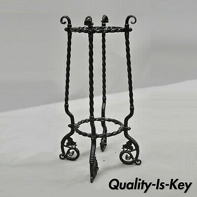 Antique Wrought Iron Maple Leaf and Vine Art Nouveau Umbrella Cane Stand