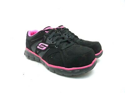 Skechers Women's Synergy Sandlot Alloy Toe Lace-Up Work Shoes Black/Pink 8.5M