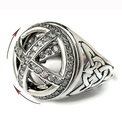 Celtic Signet Ring with Spinner 925 Sterling Silver Zircon Viking Style Jewelry