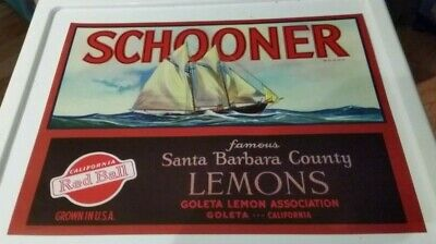 SCHOONER~OLD SAILING SHIP~VINTAGE /'30s GOLETA CALIFORNIA LEMON FRUIT CRATE LABEL