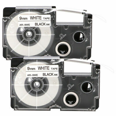 2Pcs Black On White Label Tape Compatible Maker Adhasive 8M XR-9WE For Casio
