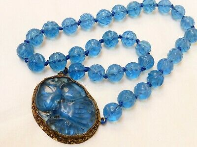 CHINESE VINTAGE / antique BLUE CARVED PEKING GLASS BEADS NECKLACE Large Pendant