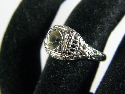 Antique Victorian 14K White Gold Art Nouveau Floral Filigree Engagement Ring