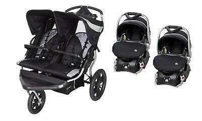 Baby Trend Navigator Double Jogger Stroller with 2 Car Seats Boys Girls Combo