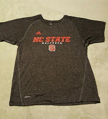 Adidas Climalite Girls NC State Wolfpack Shirt L 14/16 Gray Short Sleeves EUC