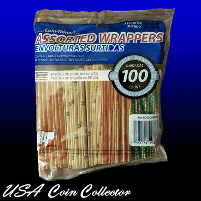 (100) Assorted Flat Coin Wrapper Tubes - Penny, Nickel, Dime & Quarter