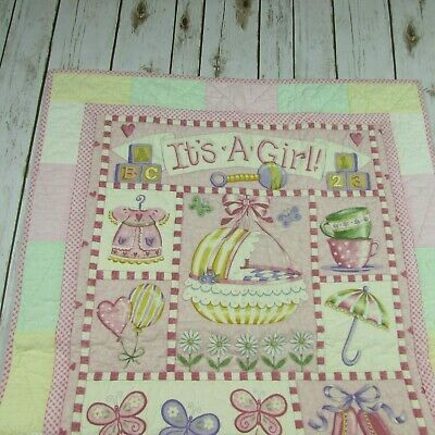 Its A Girl Handmade Pastel Baby Quilt Butterfly Ballet Lamb Pink Green Yellow