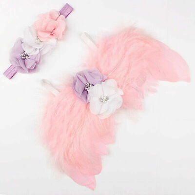 Cute Newborn Baby Wings+Headband Flower Costume Photo Photography Prop Outfits
