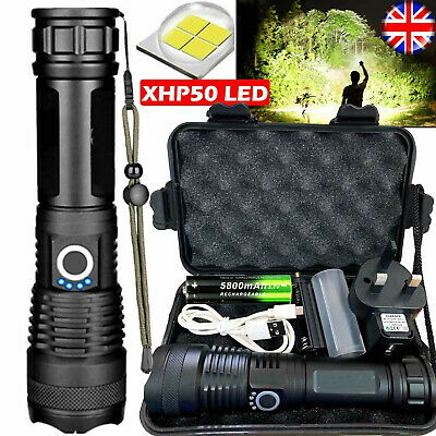 High Power 900000Lumens XHP50 Zoom Flashlight LED Rechargeable Torch Headlamp UK