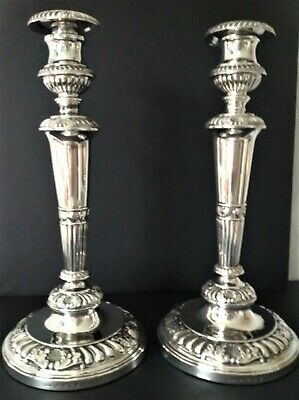 IMPOSING 33cm TALL PAIR LARGE ANTIQUE GEORGIAN STERLING SILVER CANDLESTICKS 1809