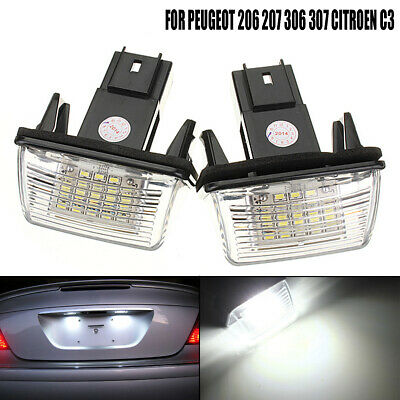 2Pcs Error Free 18 Led License Number Plate Light For Peugeot 206 207 Citroen C3