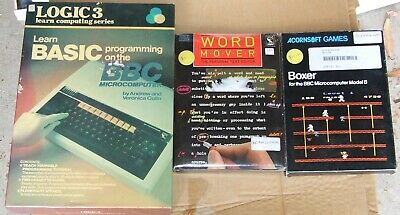 3 programs for the Acorn BBC Model B: Logic 3, Word Mover, Boxer