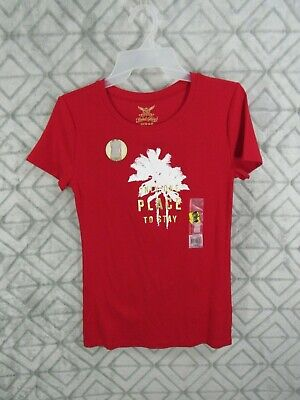New Faded Glory T Shirt Size S 4 6 Red  Palm Tree Words ONLY ONE PLACE TO STAY