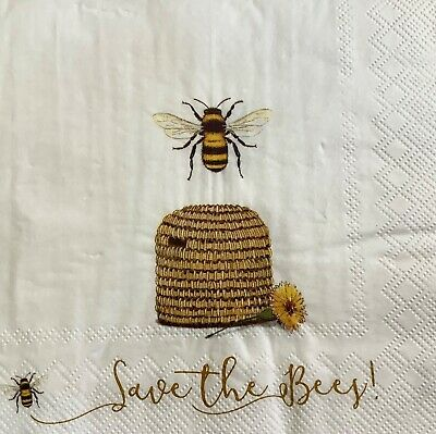3 Paper Napkins for Decoupage/Parties/Weddings - Save the bees