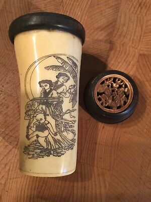 Antique Tall Chinese Horn & wood Bottle With Geisha Girls & Carved To Lid