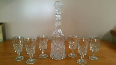 New Crystal Studio Silversmiths Wine Decanter With 6 Matching Glasses Lead Free