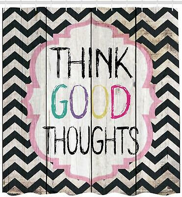Think Good Thoughts Inspirational Quotes Shower Curtain Extra Long 84 Inch White