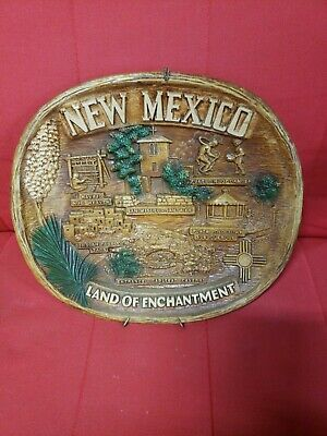 """Vintage """"New Mexico: Land of Enchantment  12"""" x 10.5"""" collector's bowl 1950's?"""