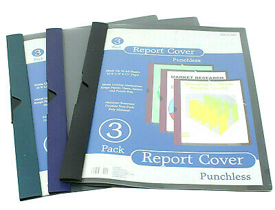 Punchless Report Covers 3-pack Metal Locking Holder 8.5 x 11 Holds 25 sheets