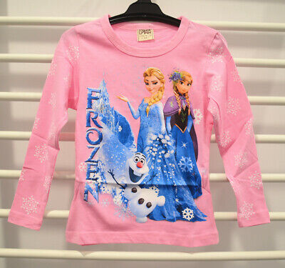 Girls Frozen Long Sleeve T-shirt Pink  Cotton Shirt Tee Top Size 2 & 6