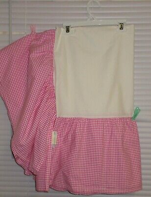 Pottery Barn Kids Bright PINK with White Gingham Dust Ruffle~Crib Skirt