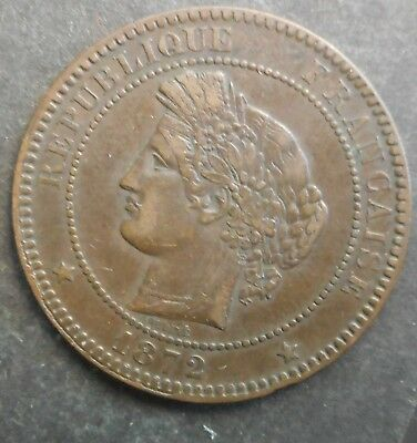 France 1872  K  Ceres  10  Centimes  coin Better Grade   NICE