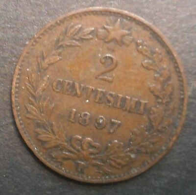 Italy 1897 2 centesimi  coin Better  grade